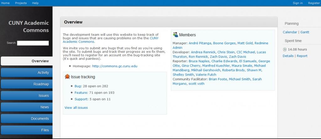 CUNY Academic Commons Redmine Website